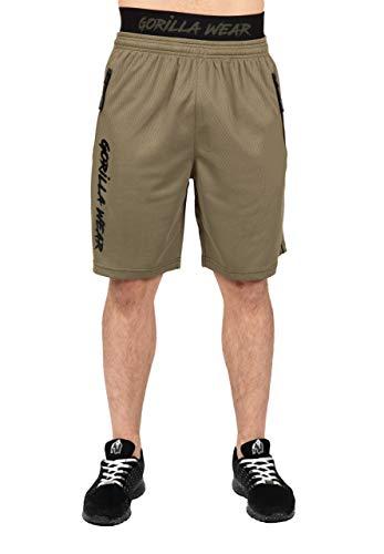 GORILLA WEAR Mercury Mesh Shorts - grün - leichte Kurze Hose mit Logo Aufdruck bequem zum Sport Alltag Freizeit Workout Training Übergröße Atmungsaktiv aus Polyester, L/XL
