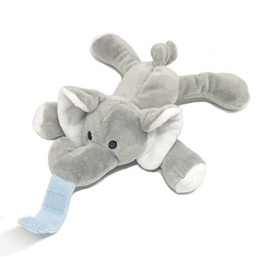 Baby Detachable Stuffed Animal for Pacifier Holder, Soft Plush Toy for Binky Animal Replcement (Elephant Animal Without Pacifier)