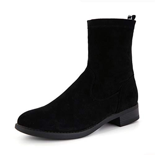 Frauen Square Low Heel Ankle Boots Hoof Heels Winterschuhe Round Toe Elastic Fabric Schuhe
