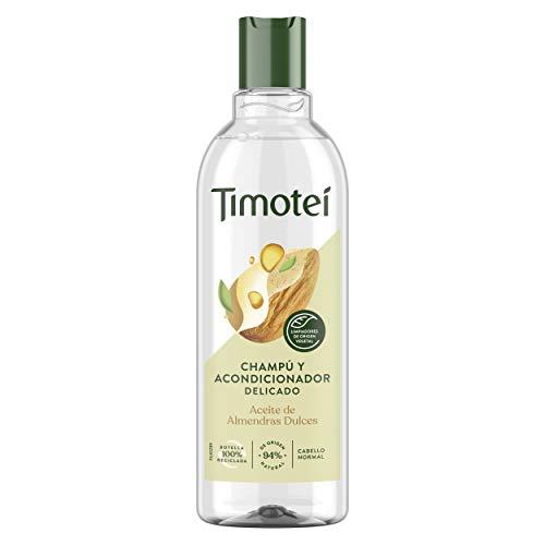 Timotei champú y acondicionador delicado para todo tipo de cabello con aceite de almendras dulces con limpiadores de origen vegetal, 94% ingredientes de origen natural 400ml