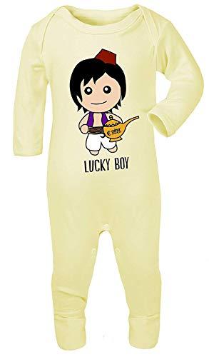 Colour Fashion Aladdin Lucky Boy Imprimé Déguisement Pyjama Footies 100% Cotton Hypoallergénique - Citron, 3-6 Months