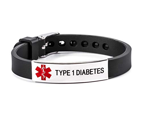 Type 1 Diabetes Medical Alert ID Rubber Silicone Bracelet Black for Men and Women
