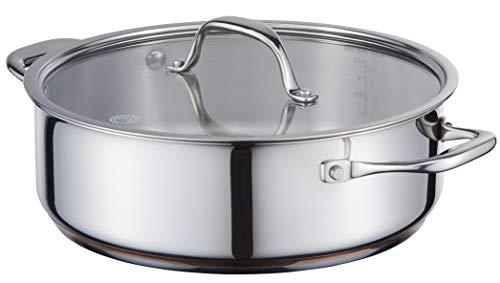 MasterChef MC 700060 Copperline Stielkasserolle mit Glasdeckel, 5-lagig, Edelstahl, induktionsgeeignet, 24 cm, Eloxiertes Aluminium, kupfer