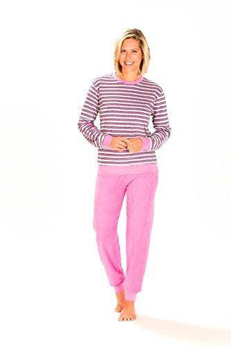 Unbekannt Damen Frottee Pyjama lang mit Bündchen - Geringelt - Rundhals 53210, Größe2:40/42, Farbe:Rose