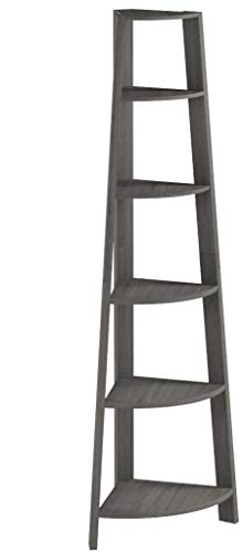 Monarch Specialties Corner Accent Etagere, 72H, Dark Taupe