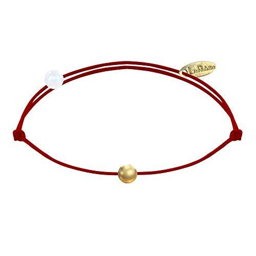 Schmuck Les Poulettes - Armband Link Kleine Vergoldet Perle - Rote