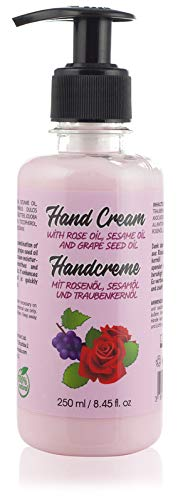Crema de Manos Natural Para Manos Secas Para Hombres y Mujeres. Con Aceite de Rosa, Aceite de Sésamo y Aceite de Semilla de Uva. Sin Parabenos y Sin Crueldad, 250 ml.