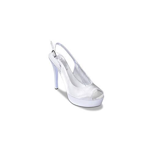 Th455n - Donna - Thullesandalo, dell 115 Pc.Raso Thulle Bianco Sposa, 37