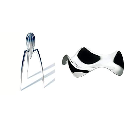 Alessi PSJS Juicy Salif Spremiagrumi Manuale di Design in Fusione di Alluminio & Blip PG02 - Posacucchiaio di Design in Acciaio Inox, Lucido