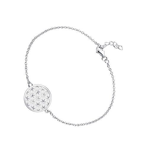 Pulsera para mujer de plata de ley 925 con amuleto de flor de la vida con oro blanco