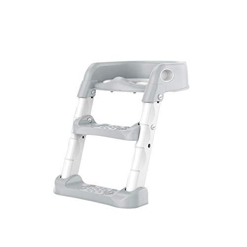 JIEER-C Ergonomische toiletbril, toiletbril voor kinderen, met trap, ergonomisch design, antislip, gemakkelijk te reinigen, voor meisjes Grijs