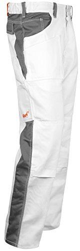 strongAnt - Pantalones de Pintor yesero Limpiador Pantalones de Trabajo con Bolsillo para Rodillera, Cremallera YKK + botón YKK - Hecho en la UE - 100% algodón 260 gm - Blanco/Gris 56