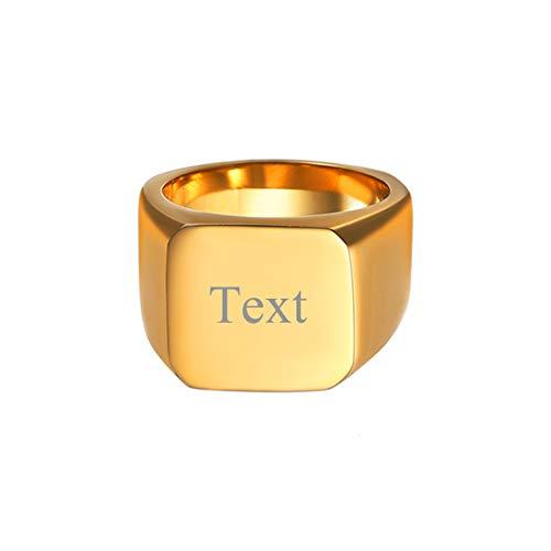 U7 Herren 18k vergoldet personalisiert Fingerring Punk Stil Siegelring hochglanzpoliert Quadrat Band Ring einfach Hip Hop Ring Street Style Modeschmuck für Männer Jungen(Ring Größe 67)