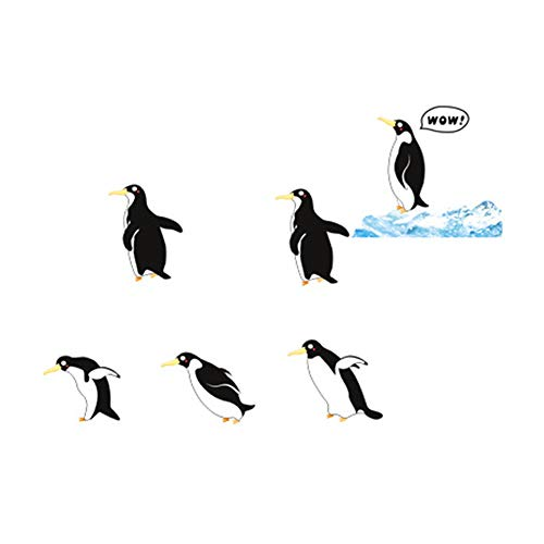 winhappyhome mignon pingouin Stickers Art Mural pour enfants Chambre Salon Fond Chambre Decor Amovible Diy Nail Art