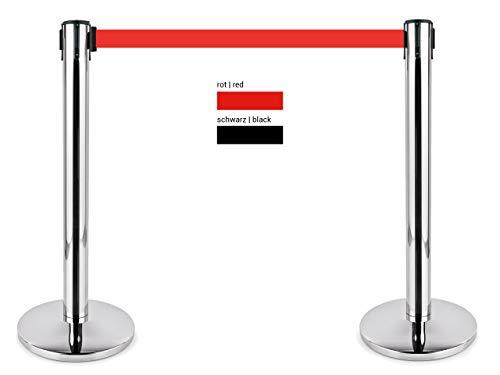 heyChef - 2er-Set | 450cm Gurtband rot extra-lang, Abgrenzungspfosten Edelstahl, Abgrenzungs-Ständer oder Personen-Leitsystem, Gurt Abstandshalter