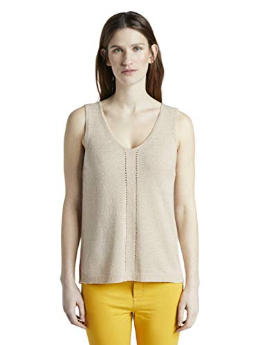 TOM TAILOR Damen V-Neck Bluse, Cremefarben ( 23304 - soft vanilla  ) , L
