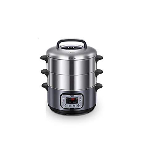 Dampfgarer aus Edelstahl 12.5L | 3 Schichten elektrischer Dampfgarer zum Garen von Gemüse und Gemüse