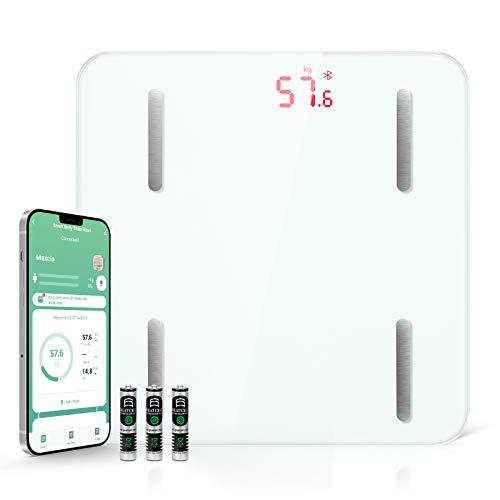 Maxcio Bilancia Pesapersone Digitale, Bluetooth Bilancia Impedenziometrica Wireless Compatibile con Apple Health, Bilancia Digitale Professionale con 13 Indici per Misura Massa, Proteine, LCD Schermo