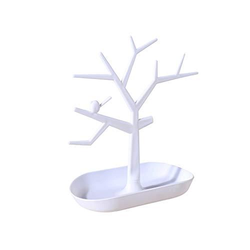 Diaod Cajas de exhibición en Forma de árbol Soporte de plástico Organizador de la joyería para joyería Accesorios Hechos a Mano (Color : White)