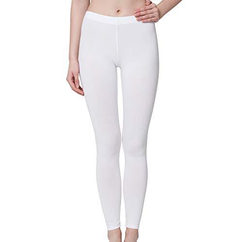 Celodoro Damen Leggings, stretchige Jersey Hose aus Baumwolle - Weiss L