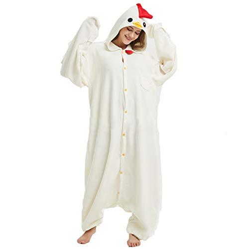 JXILY Mono de Forro Polar, Unisex, Pijama de una Pieza de Dibujos Animados Ropa Casual de Gallo Blanco para Disfraz, Cosplay o Pijama, Adecuado,Blanco,M