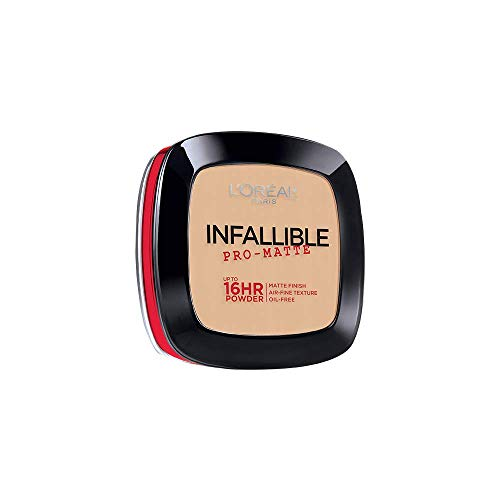 L'Oréal Paris Makeup Infallible Pro-Matte Powder, lightweight pressed face powder, 16hr shine-defying matte finish, absorbs excess oil and reduces shine, pro-look and long wear, Porcelain, 0.31 oz.