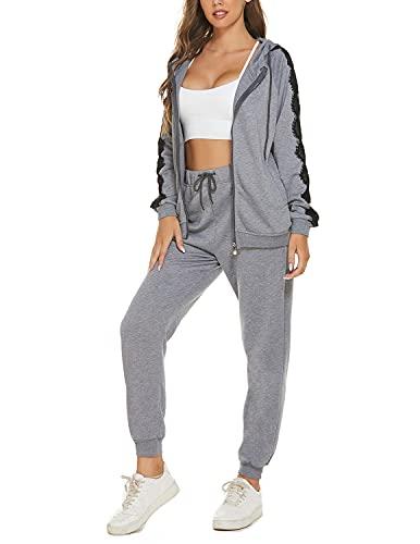 YIYIN Tuta Sportive da Donna,Elegante Tute Ginnastica Abbigliamento Due Pezzi,Felpa con Zip e Pantaloni Completo,Casual Sportwear per Yoga Jogging Fitness Grigio XL