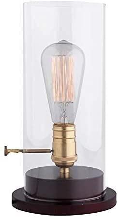 Lámpara de mesa industrial vintage con vidrio y base de madera, lámparas de escritorio antiguas para la cama, dormitorio, comedor, cafetería, decoración del pasillo MAMINGBO