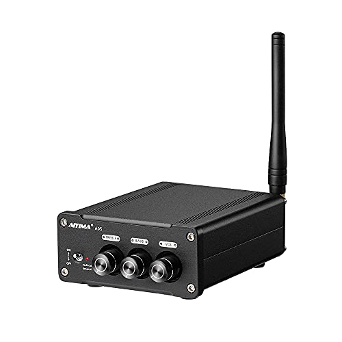 AIYIMA A05 Bluetooth 5.0 TPA3221 Amplificador de audio estéreo de 2 canales Mini Hi-Fi Clase D AMP para altavoces domésticos, 100 W x 2 bajos para altavoces pasivos