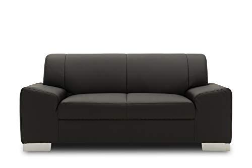 Domo Collection Alisson COUCH / 2-Sitzer Sofa / Breite: 164 cm / Bezugsstoff: Kunstleder in schwarz / zeitloses 2er Sofa