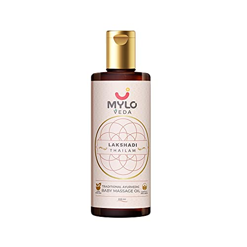 Mylo Veda Ayurvedic Baby Massage Oil for Healthy Bones and Strong Immunity with the Benefits of Ashwagandha, Cow Ghee and Turmeric, Ideal for Clear Skin and Healthy Hair (Lakshadi Thailam) (200ml)