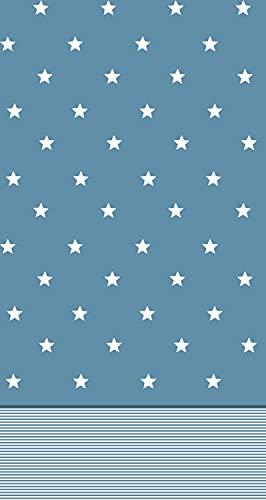 El Barco Juego de Sabanas Estampadas Algodon - Poliester. 3 Piezas, Funda Almohada, Bajera Ajustable y Encimera. Calidad y Diseño. Suave y Resistente. Estrellas Azul. Cama 105 cm