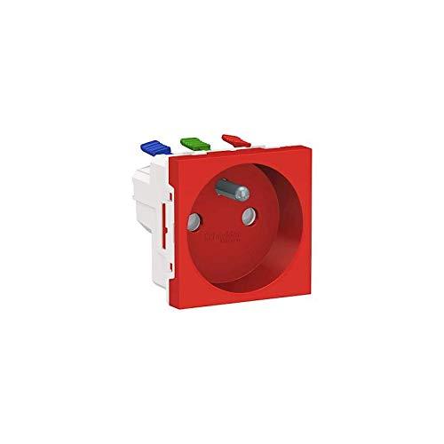 Unica - Toma 2P + T - FR - 90° - Conexión rápida travesante, color rojo