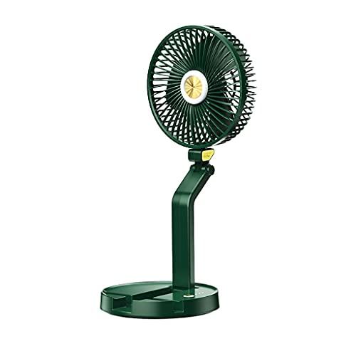 WYH Ventilador de escritorio, ventilador de mano, pequeño ventilador personal, portátil, plegable, velocidad ajustable, recargable por USB (color verde)