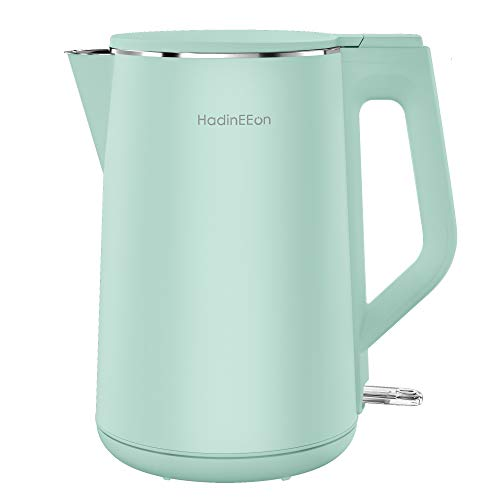 HadinEEon Electric Kettle Double Wall, 1.5L Electric Tea Kettle Stainless Steel Interior, 1500W Cool Touch Water Kettle, BPA-Free & Cordless, Auto Shut-Off & Boil-Dry Protection, 120V
