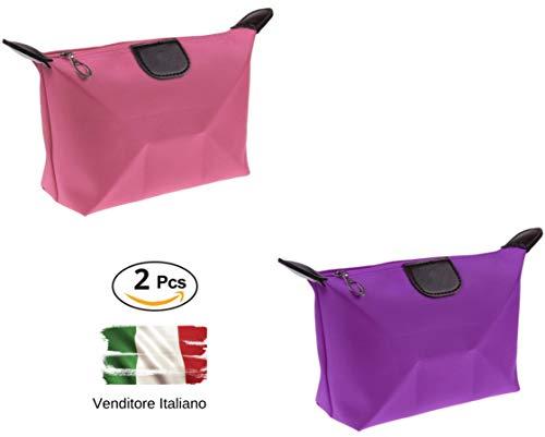 Set 2 Pochette Colorate, Beauty Case, Organizer da Viaggio, 2 Colori, DK Italy, Porta...