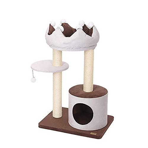 SMYONGPING Cat Climbing Frame Cat Tree Sisal Scratching Post Kitten Furniture Plush Condo Playhouse with Dangling Toys Cats Activity Centre Beige Pet Supplies cat Climbing Frame cat Bed Kennel mat