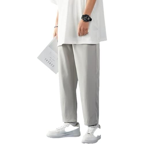 Pantalones Casuales para Hombre Moda de Verano Recto Casual Estilo Fino Cómodo versátil Pantalones de Trabajo Sueltos Color sólido con Bolsillos y cordón XL