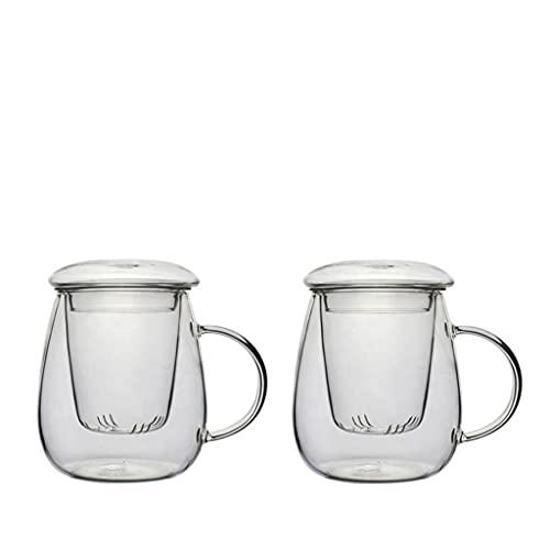 casavetro - té Cristal All in One, Grandes Taza de té con Filtro y Tapa Juego de té de XL Vidrio Borosilicato, Vidrio, Blanco, 2 Unidades
