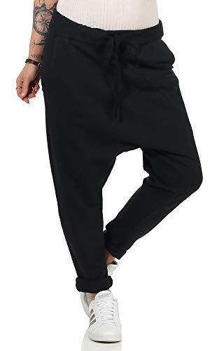 Damen Jogginhose im Boyfriend-Style Sweatpants für Freizeit Sport und Fitness 104 (36-40, Schwarz)
