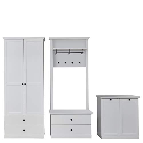 trendteam smart living Garderobe 3-teilige Set Kombination Baxter, 273 x 196 x 41 cm Weiß Dekor mit viel Stauraum