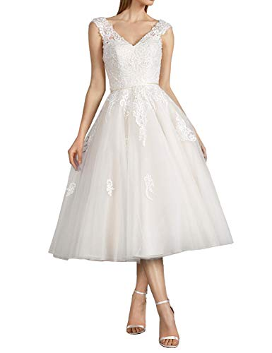 Vintage Brautkleider Hochzeitskleider Standesamt Rückenfrei Kurz A-Linie Tüll V-Ausschnitt Abendkleider Ballkleider Perlen Elfenbein 58