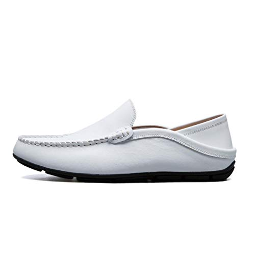 Men Shoes Genuine Cow Leather Moccasin Loafers TeMasculino Adulto Handmade Slip On Flat Boat Shoes Male Footwear Size 39-47 White 7