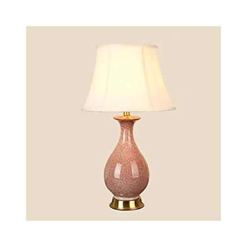 WFL-lámpara de escritorio Lámpara de mesa americana moderna minimalista de cobre Tela Esmeralda rosa de cerámica del dormitorio mesa de estudio lámpara de la mesita de la sala del hotel lámpara decora