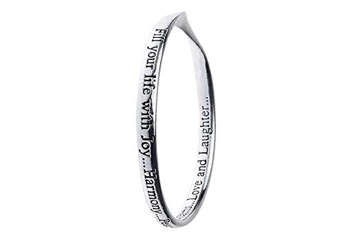 Rue B Silver Plated Message Bangle - Fill Your Life with Joy.Harmony.Peace.Dreams.Love and Laughter.