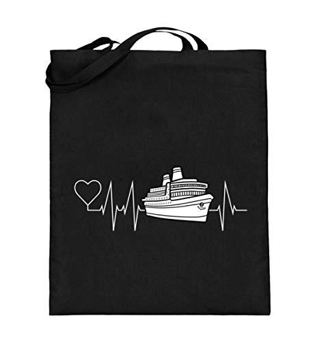 Mein Herz schlägt für die Kreuzfahrt, Kreuzfahrer Schiff mit Herzschlag - Jutebeutel (mit langen Henkeln) -38cm-42cm-Schwarz