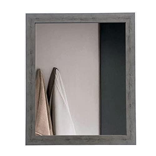 LWF Espejo De Pared Rectángulo 52x62cm Marco Madera Grande Espejo De Baño Alta Definición Espejo De Maquillaje De Afeitado para Sala De Estar Pasillo Dormitorio