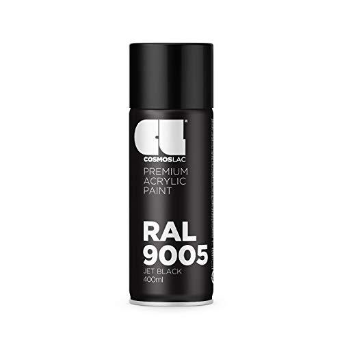 CL COSMOS LAC Sprühlack schwarz, matt - Spraydosen Sprühfarbe DIY Lack Acryllack Spray Farbspray Sprühdose Lackspray Farbe für Kunststoff, Metall, UVM. (RAL 9005 - schwarz matt)