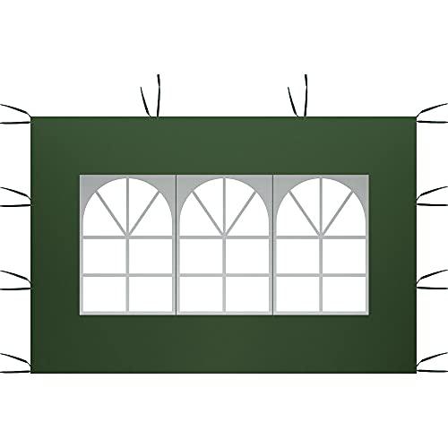 3 m x 2 m Seitenteile, Pavillon Zelt Seitenteile Wasserdicht 210D Oxford Tuch Sonnenschutz eine Seite Shelter Sichtschutz (grün-römisches Fenster)