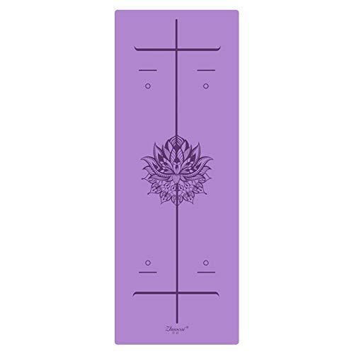 8bayfa Positionslinie Mehr Längeres Naturkautschuk Griffige Tapete Yoga Suede Fabric Gewicht verliert Gymnastikmatte Fitness Yoga-Matte ideal for zu Hause Fitness-Studio.1119 (Color : Purple)